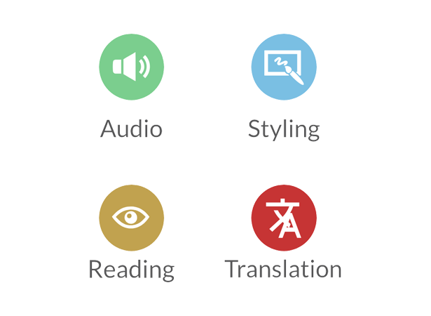 Recite Me toolbar solution. Audio, styling, reading, translation icons.