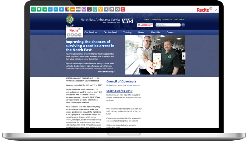 North East Ambulance Service accessibility toolbar