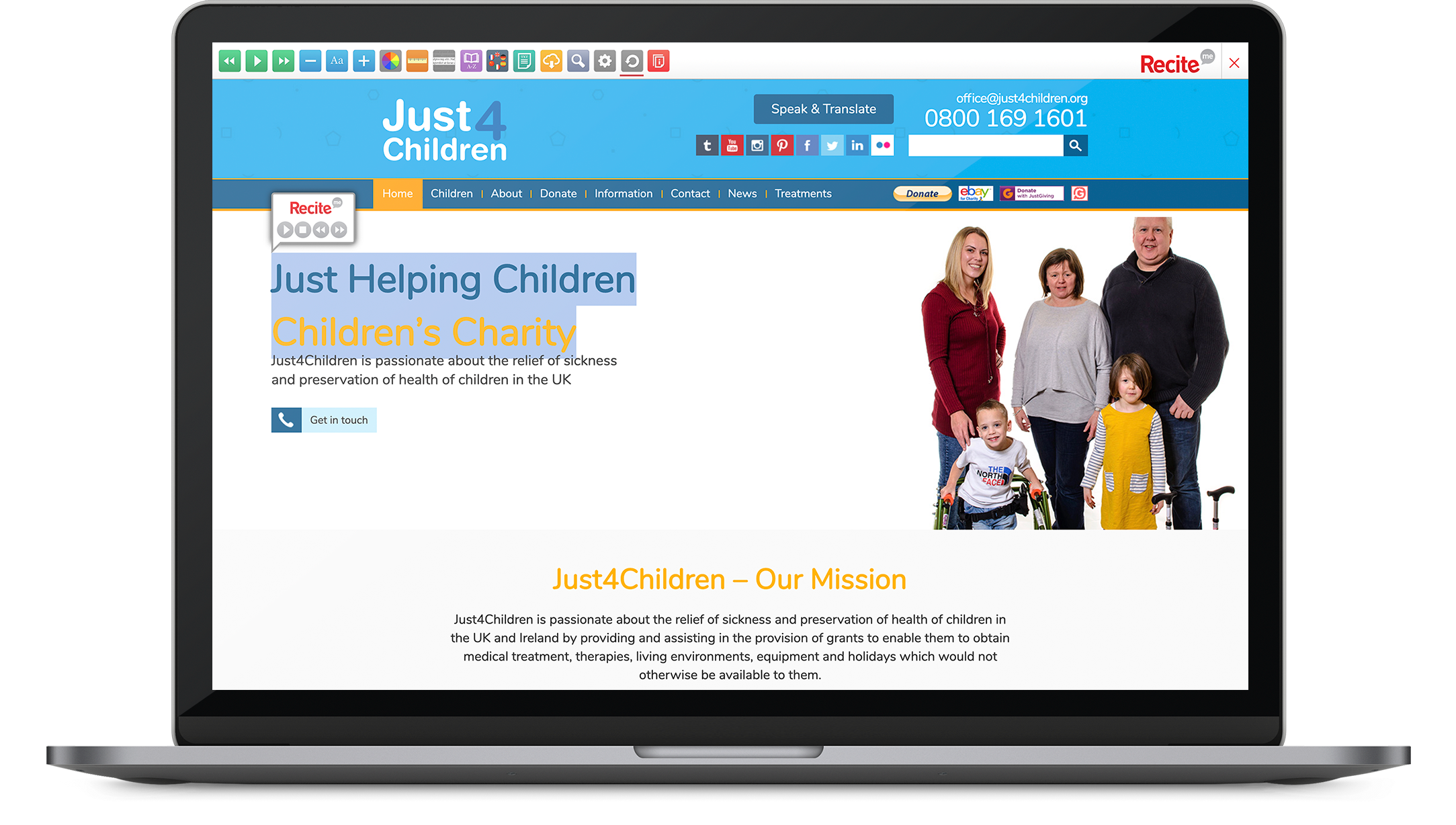 Just4Children website with Recite Me toolbar