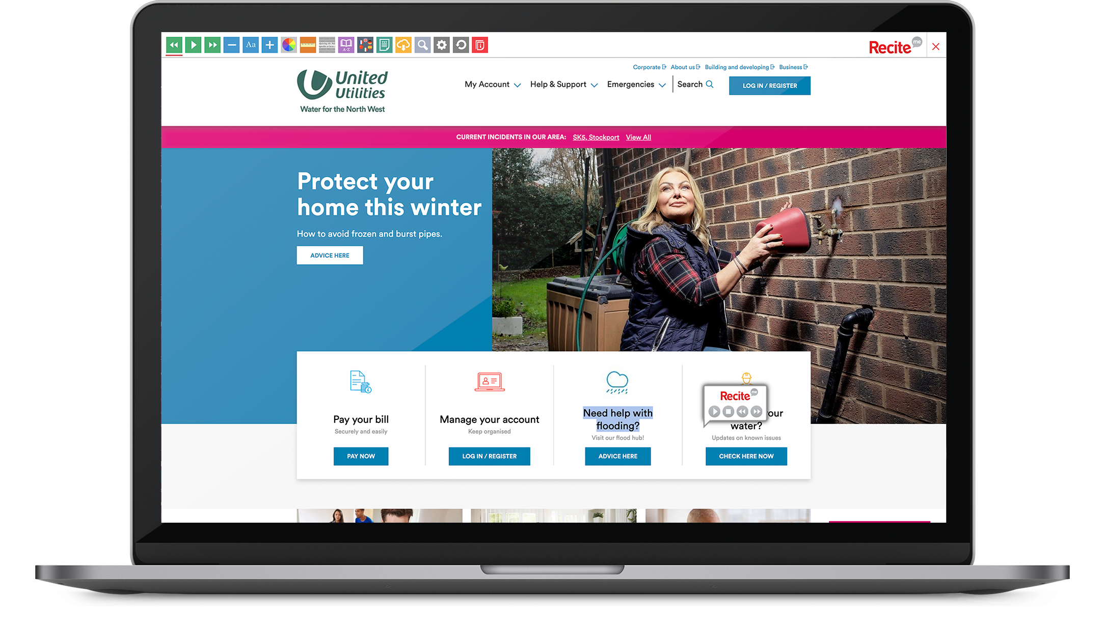 United Utilities accessible website